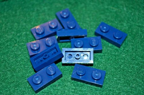 10 1x2 Dark Blue Standard Plate Bricks ~ Lego  ~ NEW ~