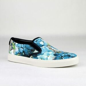 0c27ba24e745 Gucci Supreme GG Canvas Bloom Print Blue Flower Slip On Sneakers ...