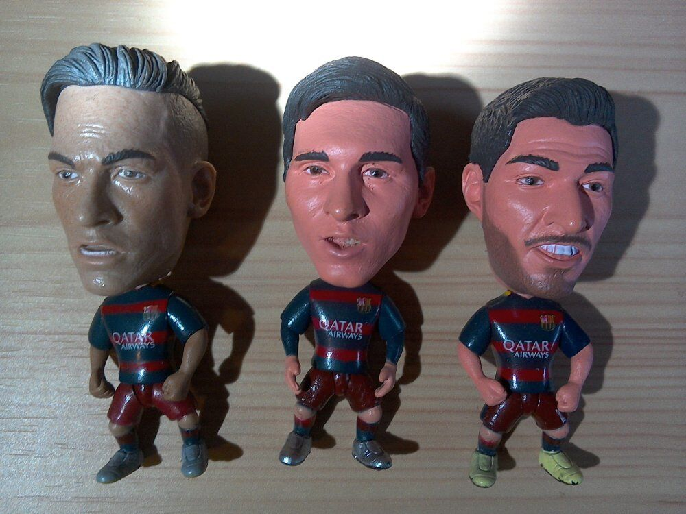 Lot De 3 Figurines Fc Barcelone Msn (Messi + Neymar + Suarez)