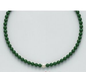 scarpe sportive d3979 446e1 Dettagli su collana donna Miluna PCL4781 argento perle verde collier oro  nuova