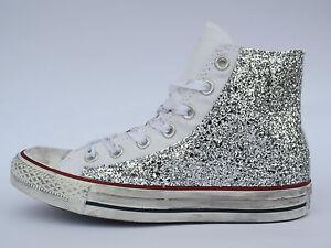 Converse all star Hi bianco optical white glitter argento vintage artigianali