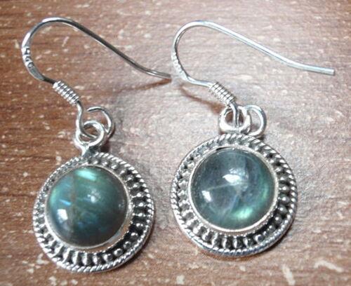 Rond Labradorite avec Silver Dot Accents 925 Sterling Silver Dangle Boucles d/'oreilles