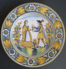 "Spanish Ceramica C Camara Large 16.5"" Romantic Couple Floral Decorative Platter"