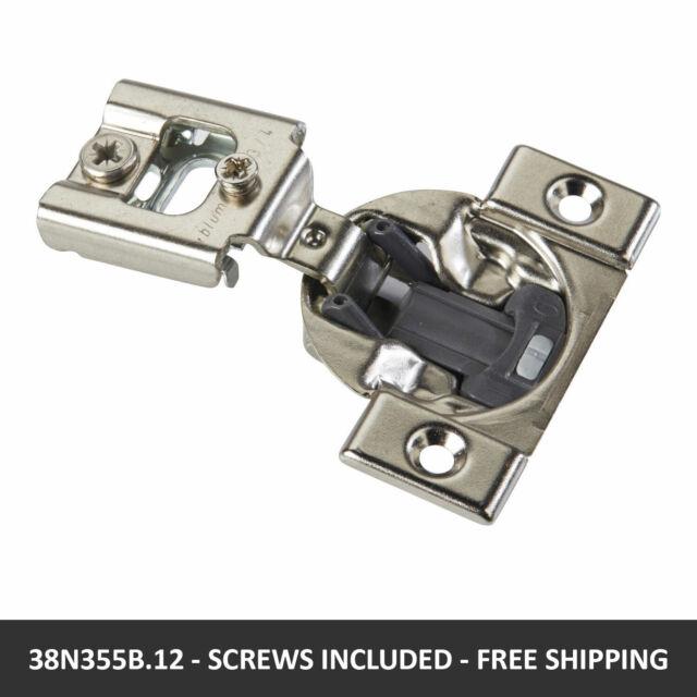 Blum 38N355C.12x2S Screw-On Cabinet Hinge Self Close 105 Degrees Pack of 2 3//4 Overlay Compact 38N Series Nickel Finish
