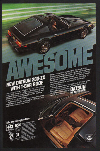 Awesome VINTAGE AD T TOP 1980 DATSUN 280-ZX Sports Car