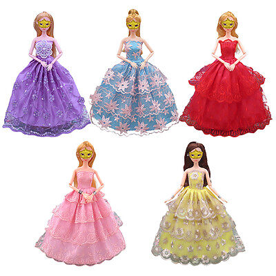5PCS Handmade Lace Doll Clothes Dress for Barbie Girl Doll Party Princess Gifts