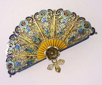 Vintage Portugal Topazio 925 Silver Enamel Filigree Floral Pin Brooch