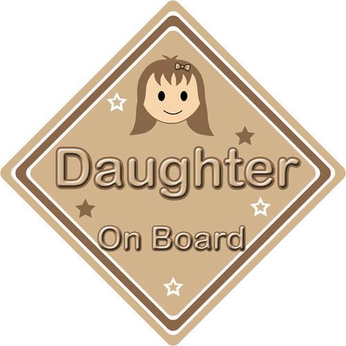 Non personnalisé enfant//bébé à bord voiture signe ~ fille à bord ~ brown