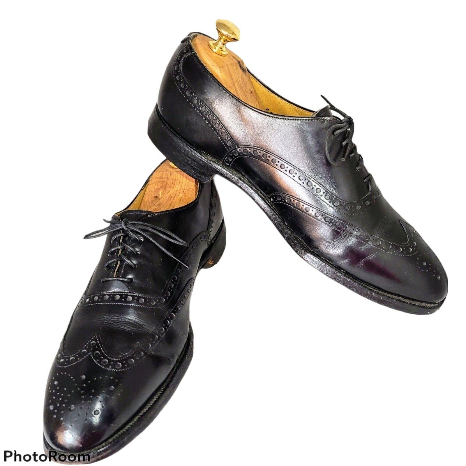 Johnston & Murphy Aristocraft Black Sz 9 1/2E Wingtip Dress Shoes made in USA