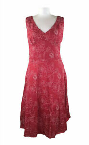LAURA-ASHLEY-A-Line-Dress-Floral-Embroidered-Red-Summer-Cotton-Midi-12-Women-s
