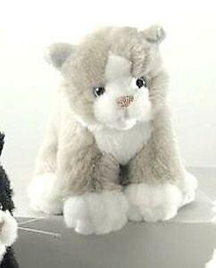 Althans Katze sitzend aus Plüsch grau-weiss ca. 18 cm