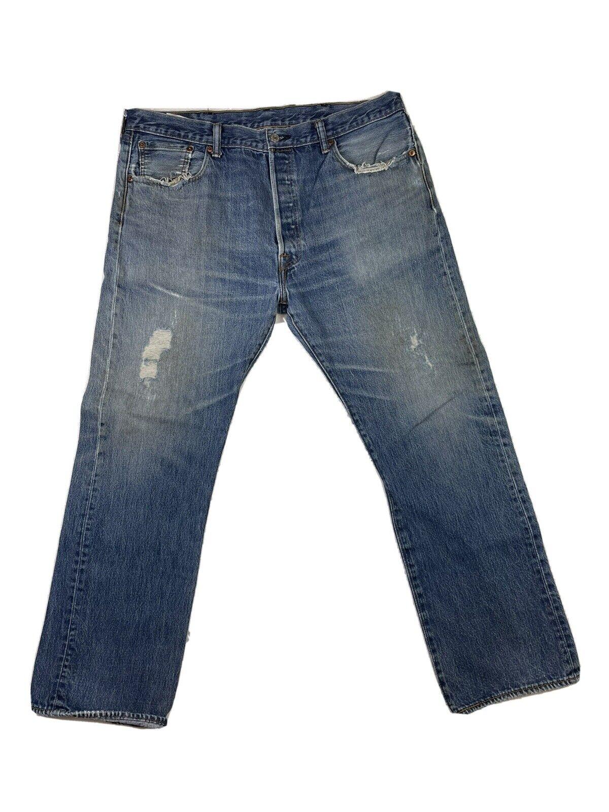 Levis 501 Jeans Mens Size 38x30 Blue Distressed - image 2