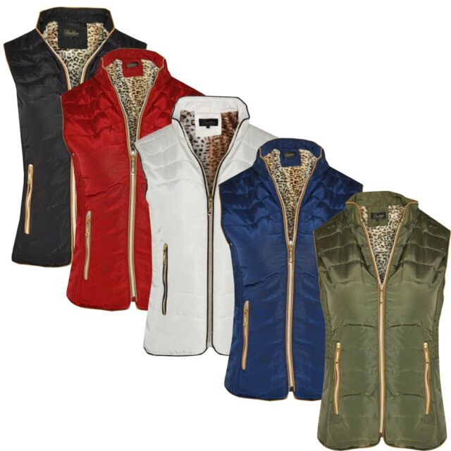 572af055f3d Womens Gilet Bodywarmer Ladies Coat PUFFER FUR PADDED QUILTED JACKET SIZES  S-5XL