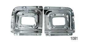 1956-Chevy-1081-Pr-PARKLIGHT-HOUSING-BACKING-PLATES-Chrome-USA-Best-Quality