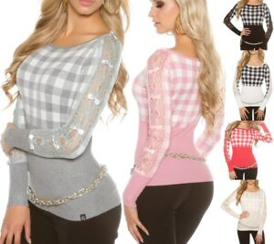 SeXy-Miss-Damen-Long-Pulli-Feinstrick-Schleifen-Karo-Spitze-Pullover-34-36-38