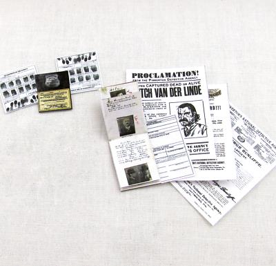 Premuroso Pinkerton Detective Files Miniatura 1:12 Scala Wanted Poster Dito Stampe Note Chiaro E Distintivo