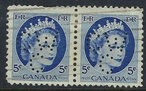 Perfin-C46-CW-C-5c-blue-QEII-Wilding-341-1-PAIR-Canadian-Westinghouse-Company