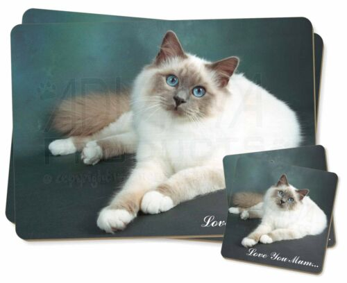 Birman Cat 'Love You Mum' Twin 2x Placemats+2x Coasters Set in Gift , AC85lymPC