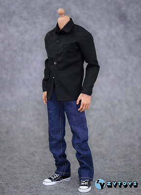 1/6 ZYTOYS Black Shirt & Jeans Clothes Man Suits Set  For Male HT PH Figure Body