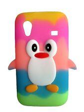Samsung Galaxy Ace S5830 Arco Iris Colorido Pingüino lindo silicona teléfono caso