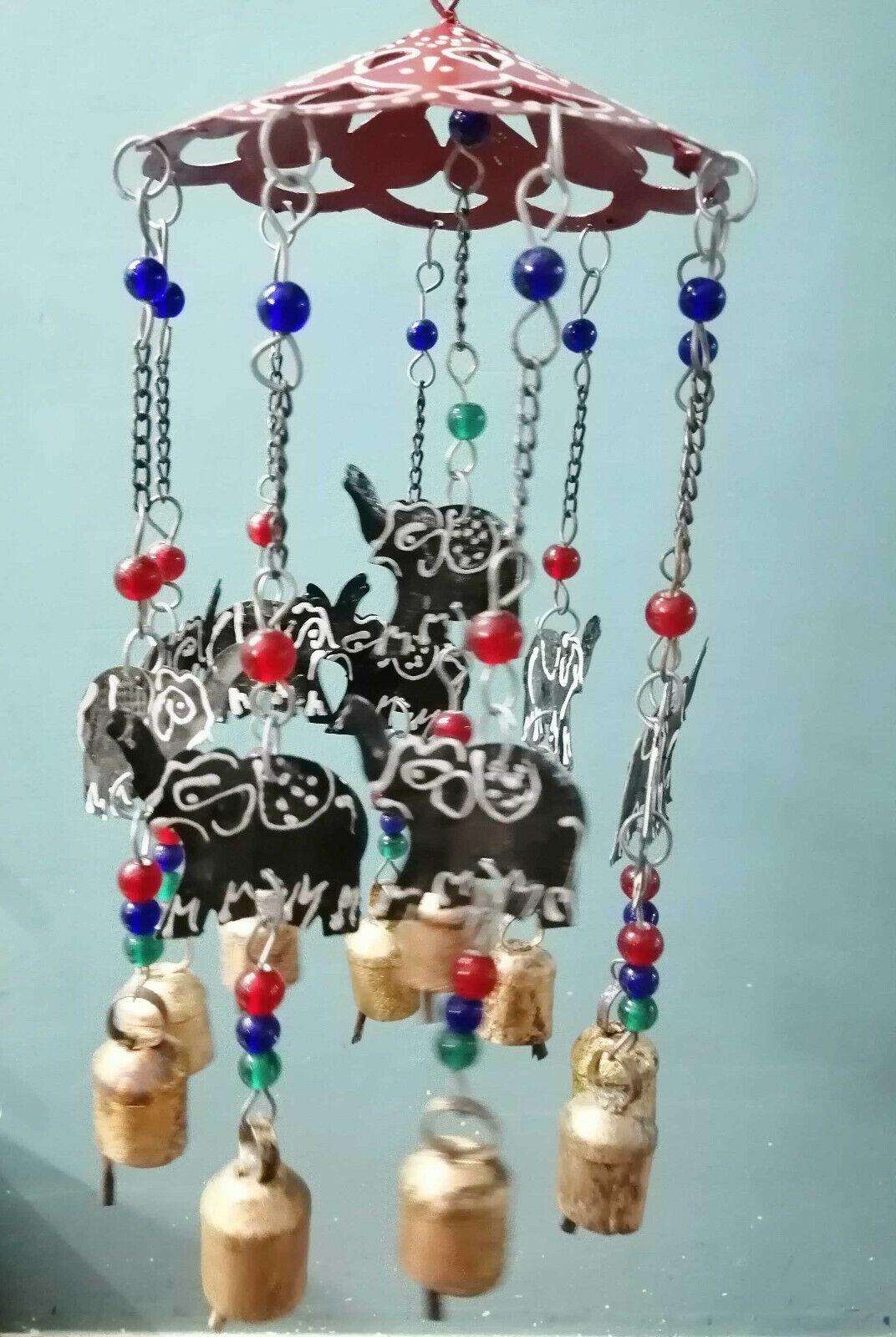 Handmade Elephant hanging Wind chime bells Mobiles Beads & Bells Patio Indoor