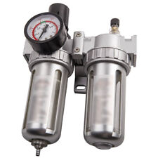 12in Air Compressor Filter Oil Water Separator Trap Tools With Regulator Gauge