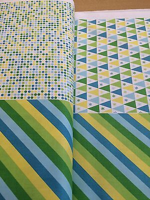 Benartex Dots Under The Big Top Triangles Stripes Blue // Green Star