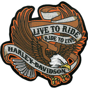 HARLEY DAVIDSON LIVE TO RIDE EAGLE BANNER 6.5 INCH HARLEY PATCH