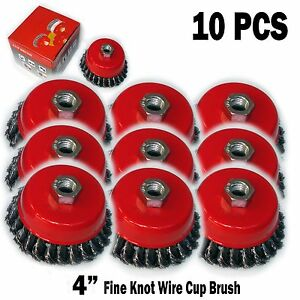 """4PC  4/"""" x 5//8/"""" 11 NC FINE Knot Wire Cup Brush Twist For Angle Grinders Wheel"""