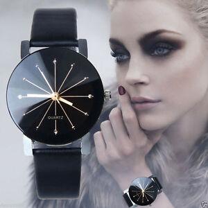 Mode-Damen-Leder-Edelstahl-Kristall-Laessig-Quarz-analoge-Armbanduhr-Schwarz-NEU