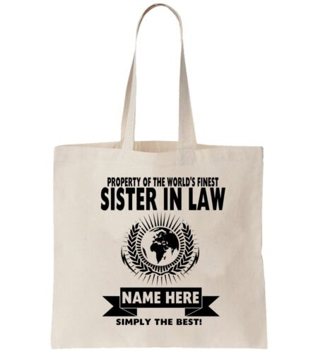 Sister In Law  Personalised Tote Bag Shopper Thanks Amend Birthday Gift