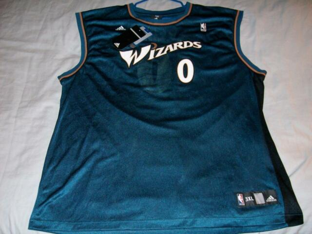 fb3561159 Gilbert Arenas 0 Washington Wizards NBA adidas Blue scr prt Jersey Mens 2XL  New