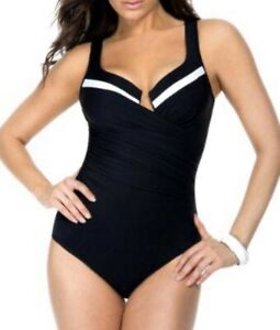 Miraclesuit Womens Black and White Colorblock Escape One-Piece