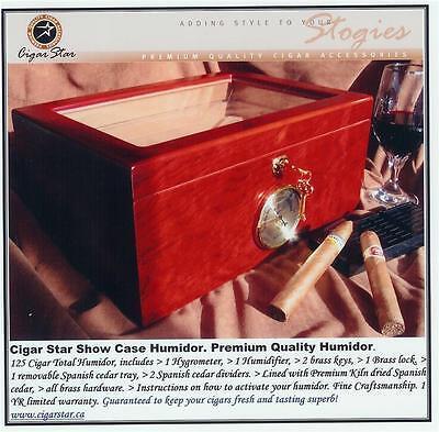 Showcase II Bubinga Cigar Star Humidor Glass Top. No reserve auction, great!