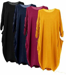 Nouveau-Femmes-Italien-Lagenlook-Coton-a-Manches-Longues-Robe-Tunique-Grande-Taille-12-28