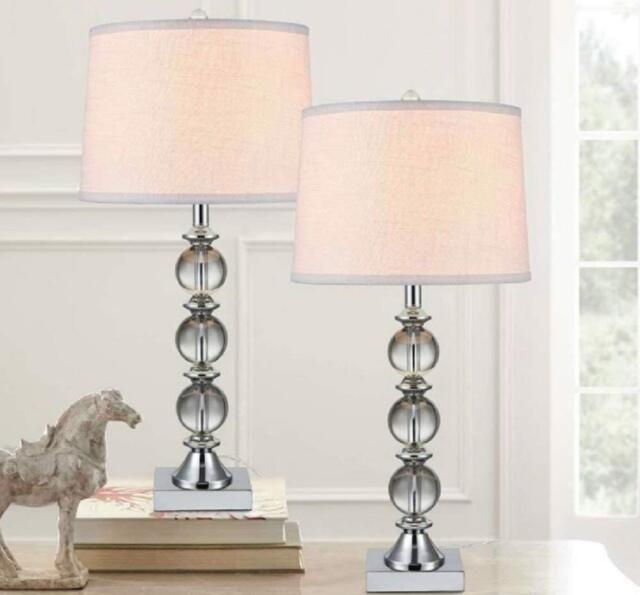 Bridgeport Designs Crystal Table Lamps Polish Chrome Finish Set Of 2 Open Box