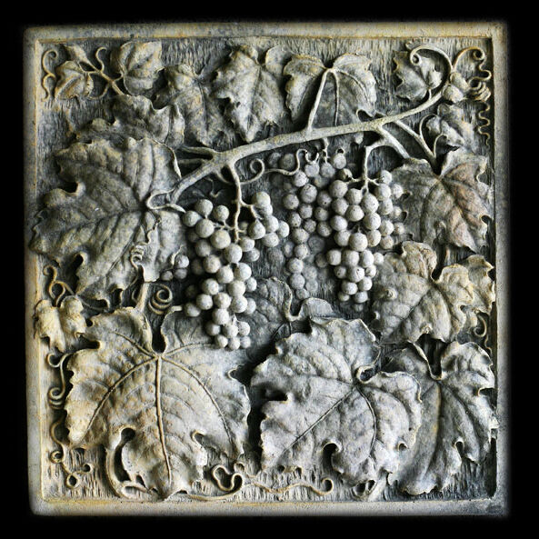 Grapes square Wall Relief Sculpture Plaque