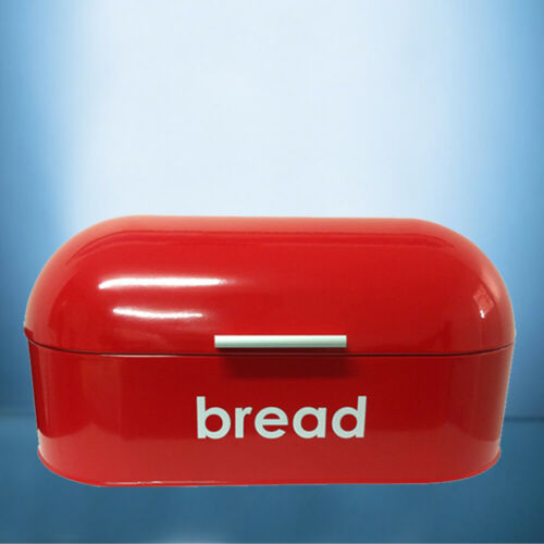American Style Curved Steel Roll Top Bread Bin Food StorageRed Black Cream
