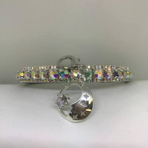 ~Silver Aurora Moon~ Crystal Bling Rhinestone Dog Cat Pet Collar USA