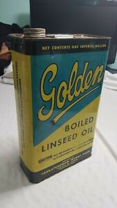 VINTAGE-GOLDEN-RAW-LINSEED-OIL-TIN-CAN-Saskatchewan-Wheat-Pool-1-IMP-GALLON