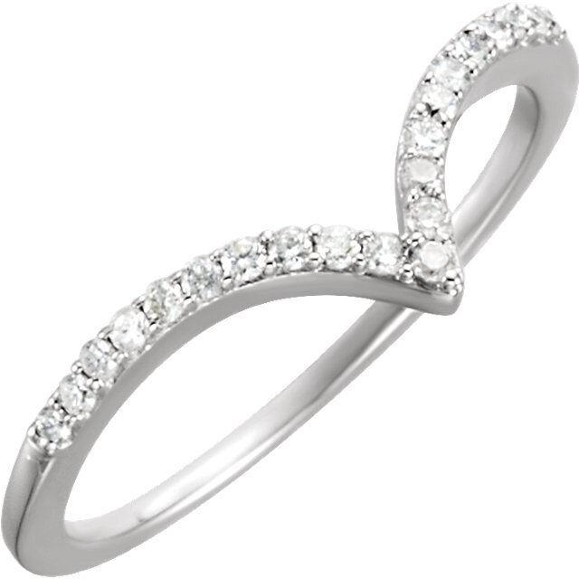 1 6 cttw Diamond V Ring 14kt White gold Fashion Ring Size 7 Free Shipping