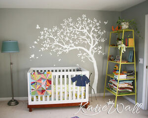 Image is loading White-Tree-Wall-Decal-Nursery-tree-sticker-baby- & White Tree Wall Decal Nursery tree sticker baby room wall art decor ...
