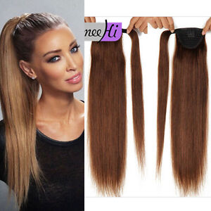 Silk Straight Clip in Wrap High Ponytail 100% Remy Human HaIr ...