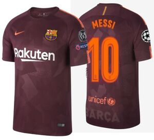 new products 30306 8ec83 Details about NIKE LIONEL MESSI FC BARCELONA UEFA CHAMPIONS LEAGUE THIRD  JERSEY 2017/18.