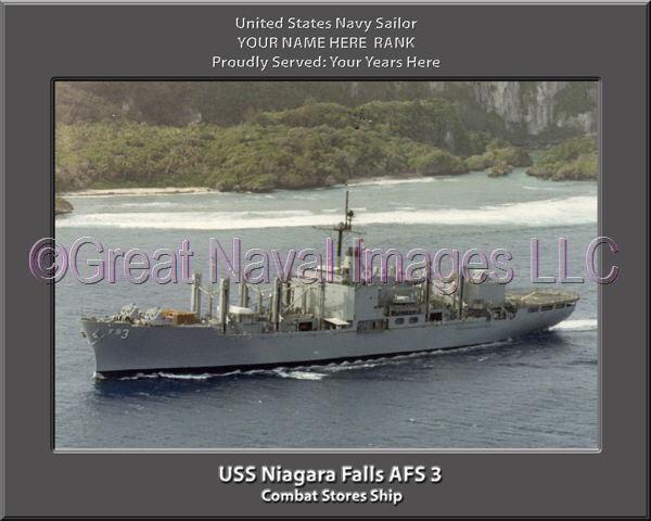 USS USS USS Niagara Falls AFS 3 Personalized Canvas Ship Photo Print Navy Veteran Gift 259e3d