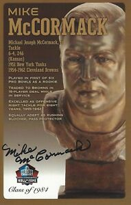 Mike McCormack Cleveland Browns  Football Hall Of Fame Autographed Bust Card