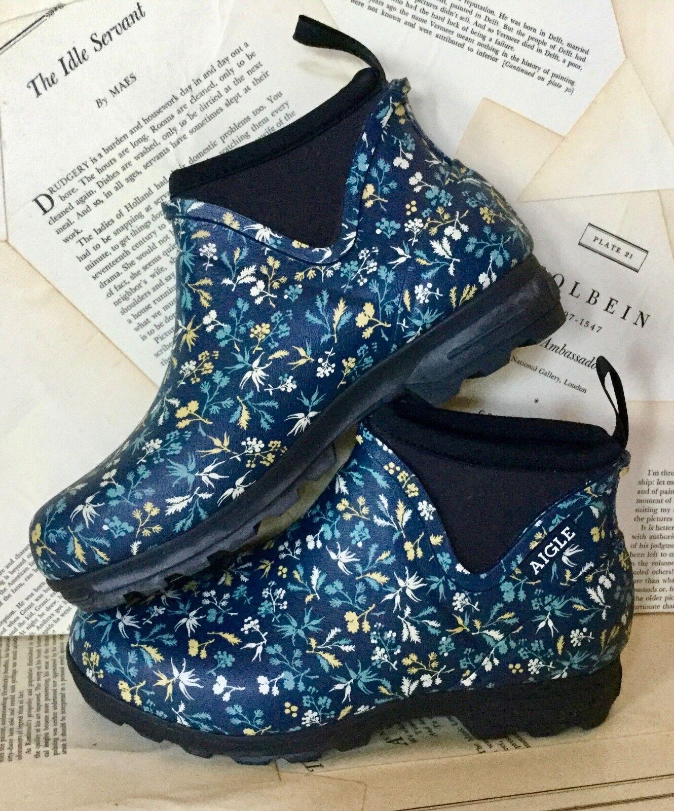 servizio di prima classe NEW Aigle blu Floral Floral Floral Lug Sole Rain Chelsea Ankle avvioie avvio 37 6  essere molto richiesto