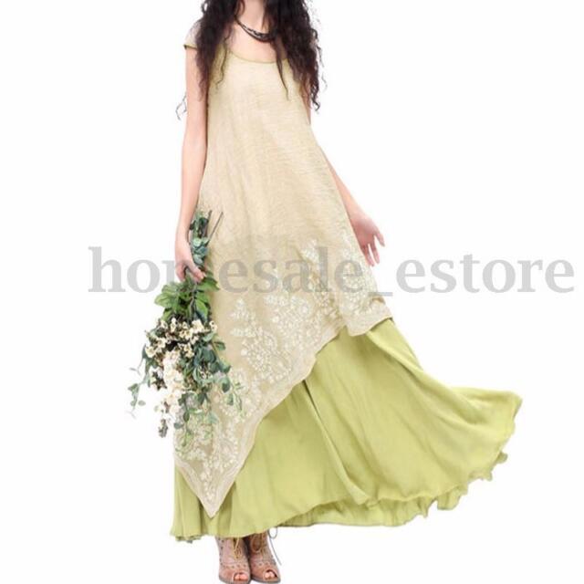 S-5XL Women Short Sleeve Round Neck Irregular Party Embroidered Long Maxi Dress