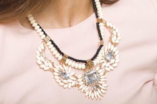 Collar de Declaración Crema Lazos de Follaje Cristal Collar Colgante Estilo De Moda De Joyería