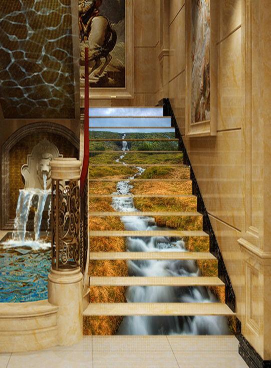 3D Wiese Bach 777 Stair Risers Dekoration Fototapete Vinyl Aufkleber Tapete DE